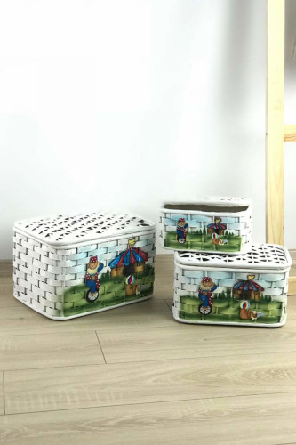 Sepetcibaba - 3 Lü Hasır Beyaz Kutu Sepeti