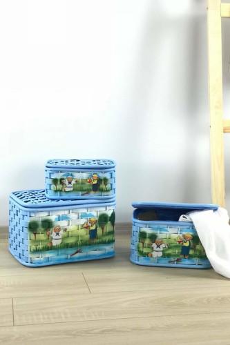 Sepetcibaba - 3 Lü Hasır Mavi Kutu Sepet