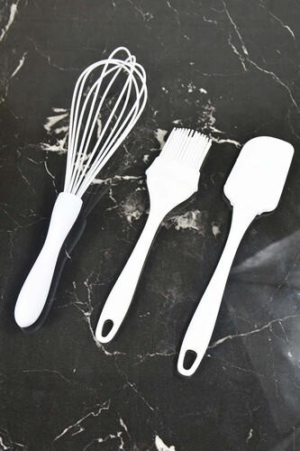 - 3'Lü Silikon Mutfak Seti Beyaz