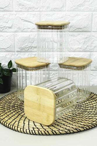 - 4 Lü Bambu Kapaklı Kavanoz Seti