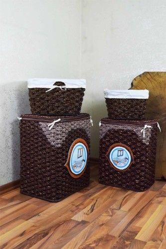 4 Lü Çamaşır Sepeti Kahve