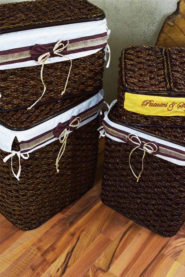 4 Lü Çamaşır Sepeti Kahve-Beyaz Bez