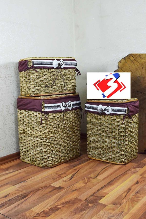 3 Lü Çamaşır Sepeti Kahve-Krem