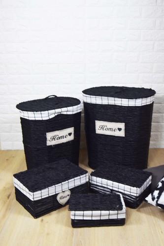 - 5 Li Çamaşır Sepeti Seti Oval Siyah