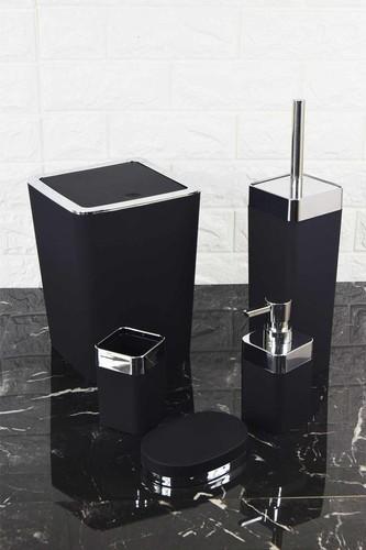 - 5 Parça Lüx Akrilik Banyo Set Kare Siyah