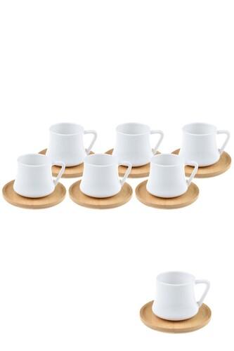 - 6 Kişilik Bambu Tabaklı Kahve Fincan Takımı
