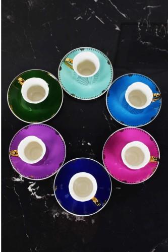 - 6 Lı Kahve Fincanı Rengarenk