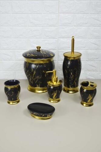 - 6 Lı Porselen Lüx Banyo Seti Siyah