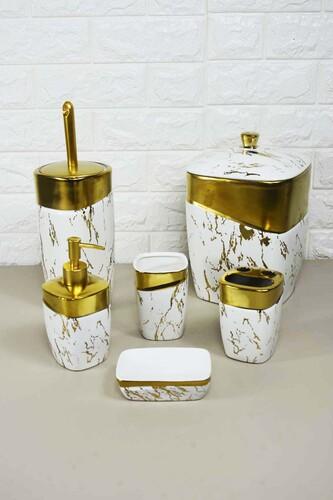- 6 Parça Lüx Porselen Banyo Seti Beyaz