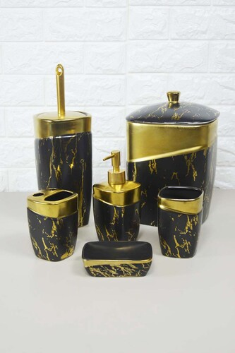 - 6 Parça Lüx Porselen Banyo Seti Siyah