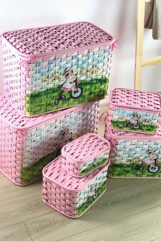 Sepetcibaba - 6 Lı Pembe Hasır Yatay Oyuncak Sepeti