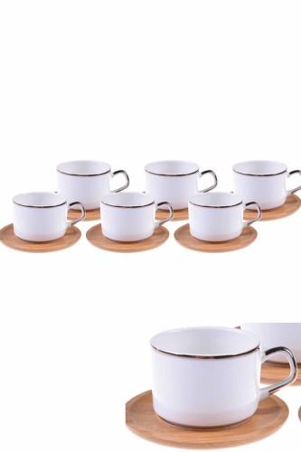 - Affo - 6 Kişilik Çay Fincan Takımı Altın Yaldızlı
