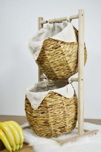 Sepetcibaba - Alessi - Hasır Meyvelik 2 Katlı