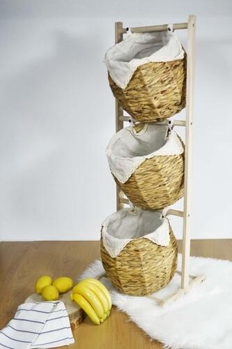 Sepetcibaba - Alessi - Hasır Meyvelik 3 Katlı