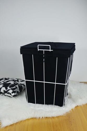 - Ariel - Metal Çamaşır Sepeti Kare Beyaz