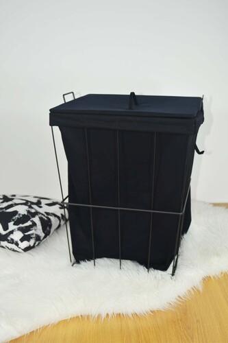 - Ariel - Metal Çamaşır Sepeti Kare Siyah