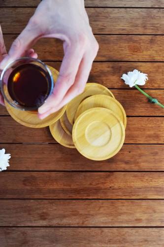 - Arjen - Bambu 6 Lı Çay Tabağı Yuvarlak