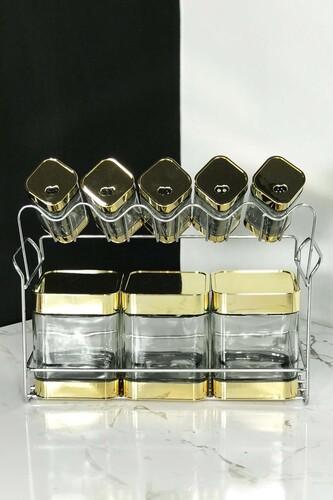 - Arow - 9 Parça Standlı Baharat Seti Gold
