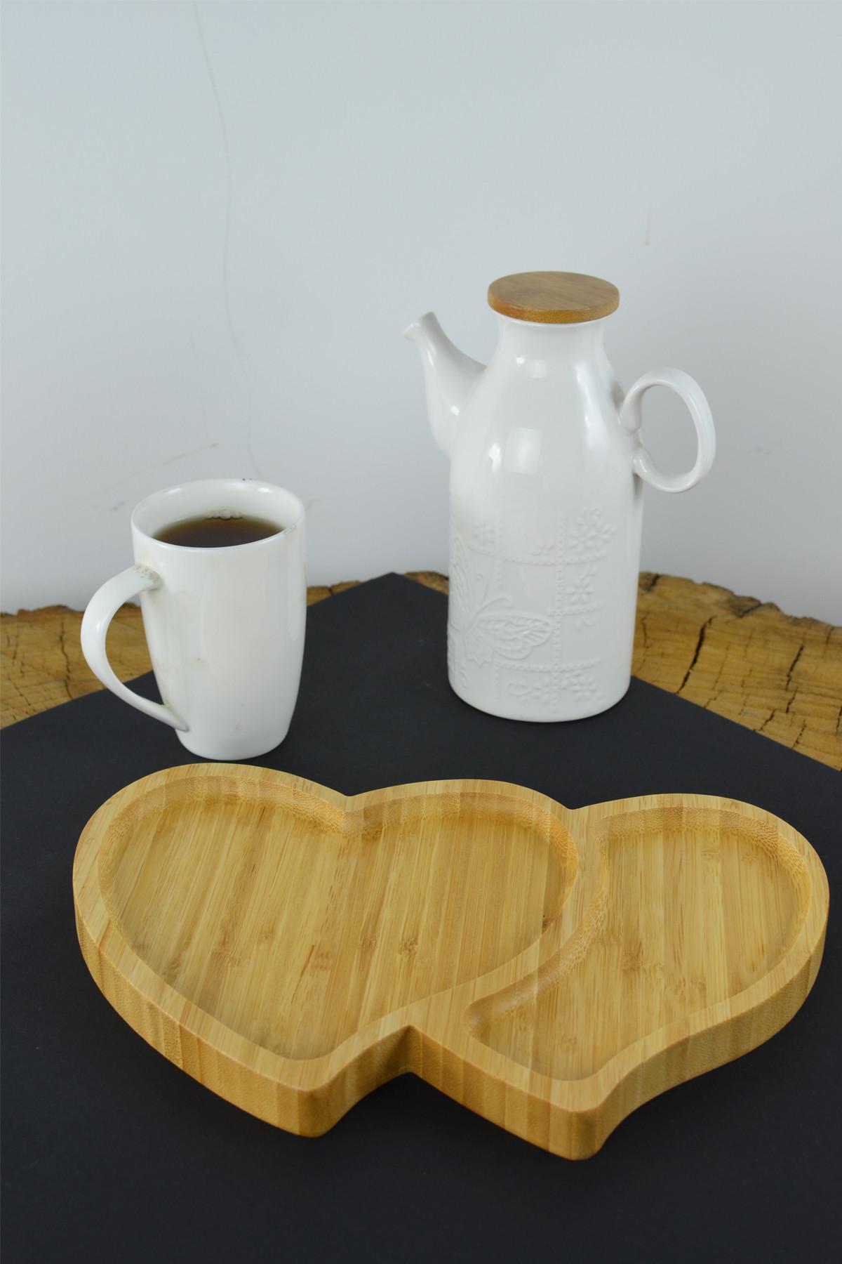 - Bambu İki Kalp Sunum Tabağı
