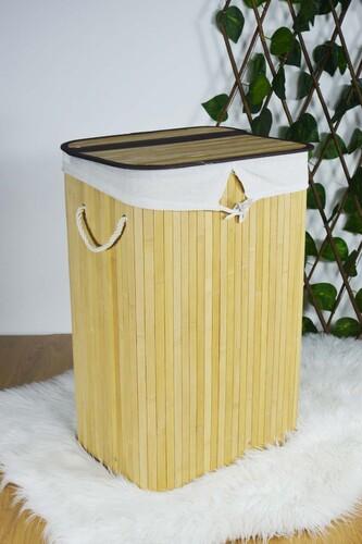 - Bambu Katlanır Çamaşır Sepeti Naturel