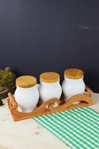 - Bambu & Porselen 3 Lü Kavanoz Seti
