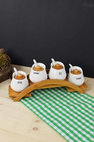 - Bambu & Porselen 4 Lü Baharat Seti