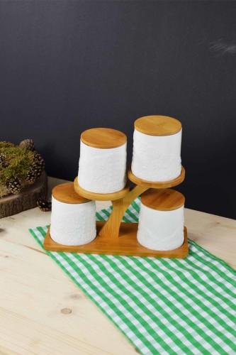 - Bambu & Porselen Ağaç Model Baharatlık