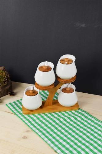 - Bambu & Porselen Ağaçlı Baharatlık