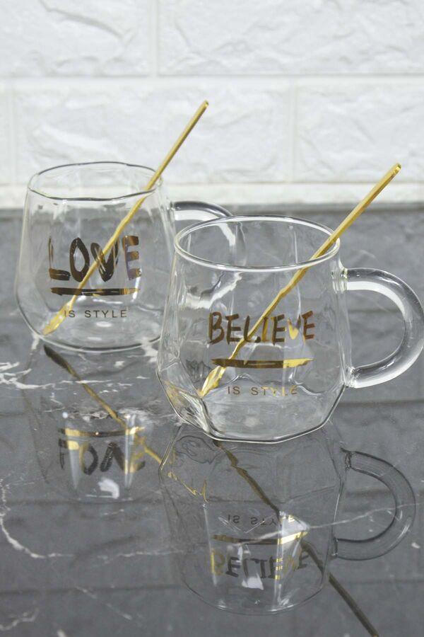 Believe - 2 Kişilik Cam Kupa Seti