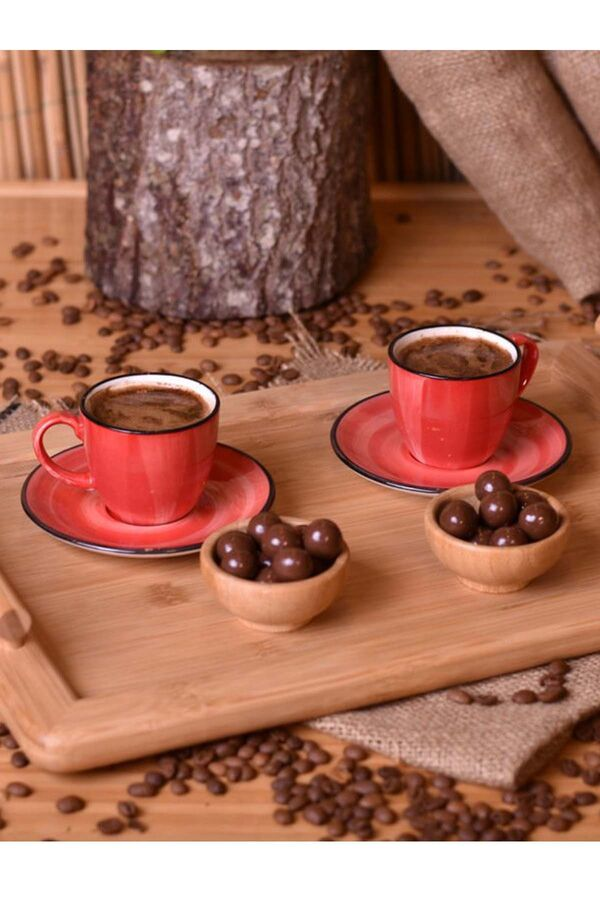 Bella - 2 Kişilik Kahve Fincan Takımı Kırmızı