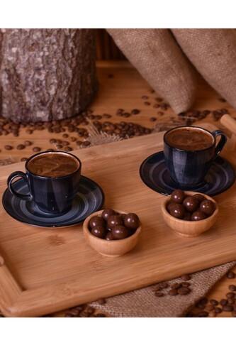 - Bella - 2 Kişilik Kahve Fincan Takımı Koyu Gri