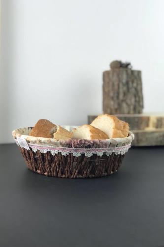 Sepetcibaba - Bezli Hasır Yuvarlak Ekmek Sepeti