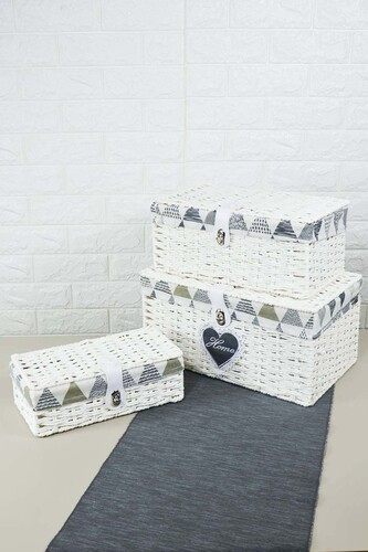 - Box - 3 Lü Hasır Kutu Beyaz
