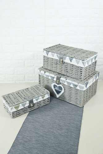 - Box - 3 Lü Hasır Kutu Gri