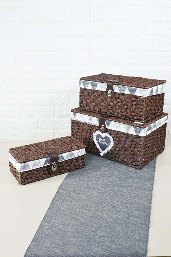 Box - 3 Lü Hasır Kutu Kahve