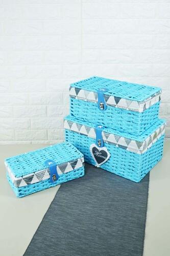 - Box - 3 Lü Hasır Kutu Mavi