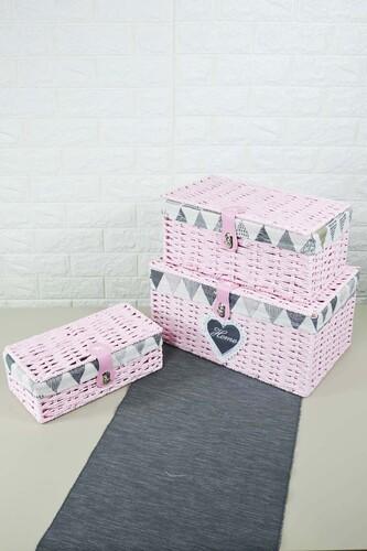 - Box - 3 Lü Hasır Kutu Pembe