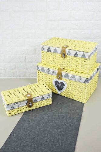 - Box - 3 Lü Hasır Kutu Sarı