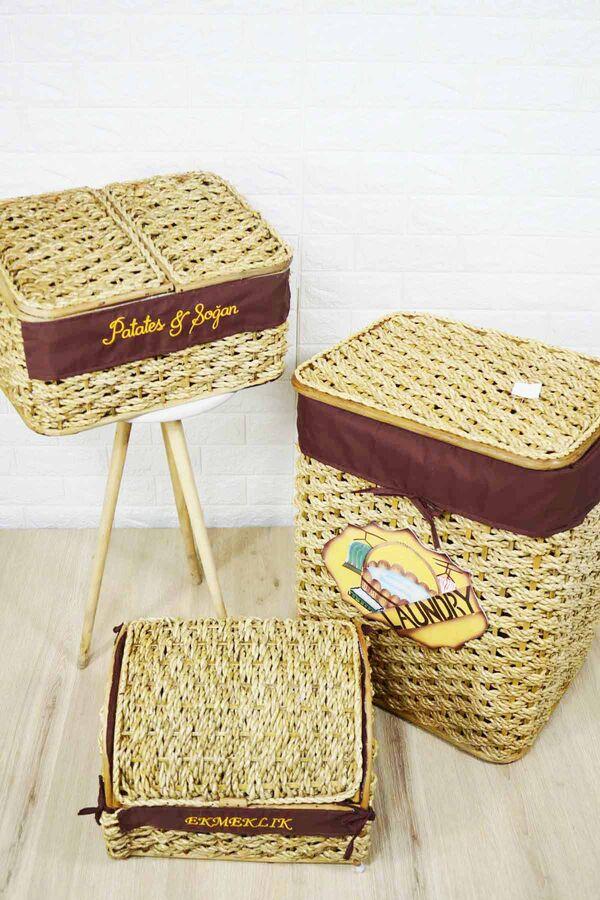 Çamaşır Sepeti Ekmek ve Patates Sepeti Seti