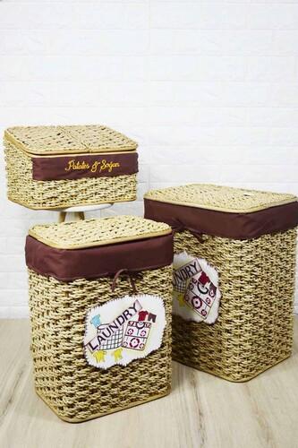- Çamaşır Sepeti Seti + Patates Sepeti Krem