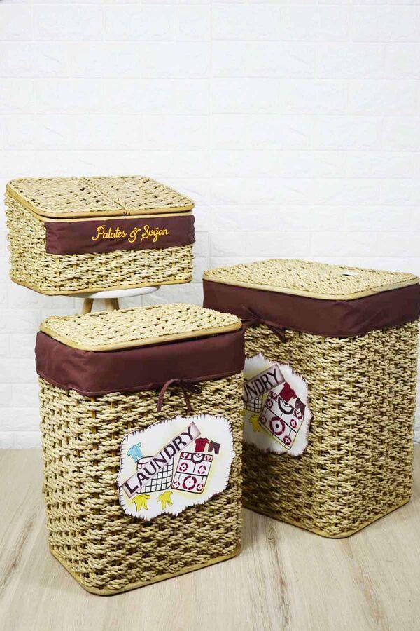 Çamaşır Sepeti Seti + Patates Sepeti Krem
