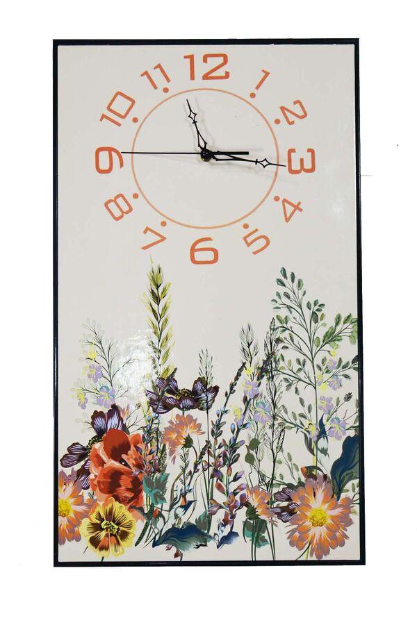 Çiçek Desen Beyaz Duvar Saati