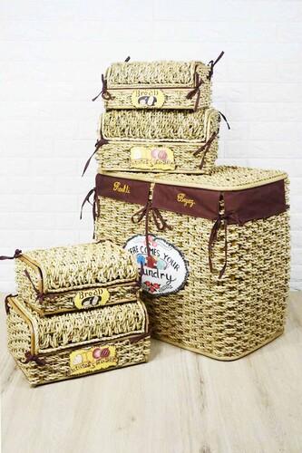 - Çift Bölmeli Çamaşır Sepeti + Patates Ekmek Sepeti Krem