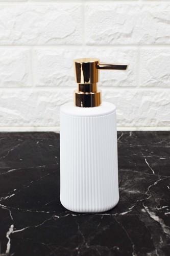 - Çizgi Desenli Akrilik Sıvı Sabunluk Beyaz