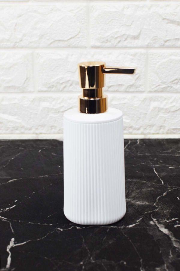 Çizgi Desenli Akrilik Sıvı Sabunluk Beyaz