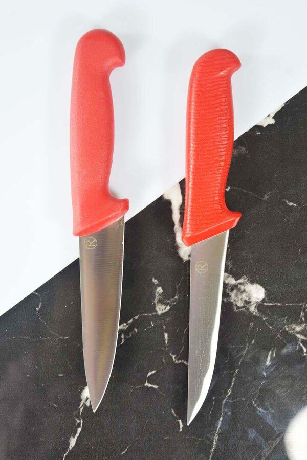 Doğrama ve Sıyırma Bıçak Kırmızı Seti
