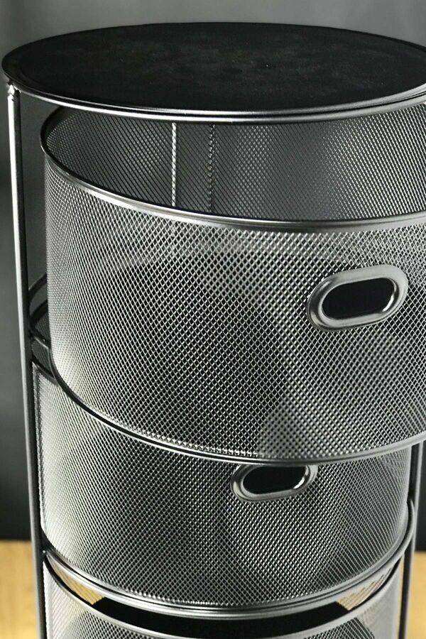 Drawe - 4 Katlı Metal Sebzelik Siyah