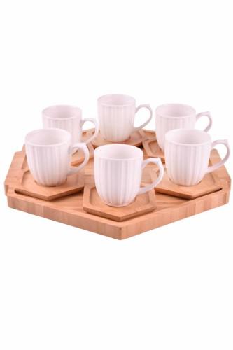 - Dulato - 6 Kişilik Tepsili Çay Takımı