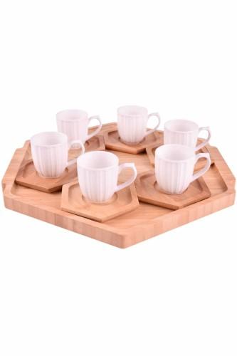 - Dulato - 6 Kişilik Tepsili Kahve Takımı