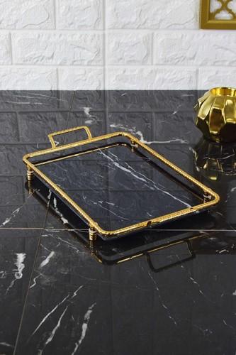 - Ebruli Tepsi Siyah-Gold Orta